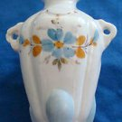Vintage Bud Vase Porcelain Hand Painted White, Orange, Blue, Gold Accents ~Small