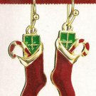 Christmas Earrings Holiday Dangle Earrings Red Stockings w/Green Pkg & Candycane