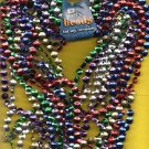 Necklaces..Party Beads (12 NECKLACES) 6 Different Colors MARDI GRAS Flat Beads