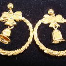 Christmas Earrings Jingle Bell Hoops Goldtone Steel Post ~Circa 1992 (OLD STOCK)