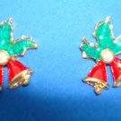 """Christmas Earrings Holiday Pierced Earrings """"Bell"""" ~Circa 1997~ (NEW OLD STOCK)"""