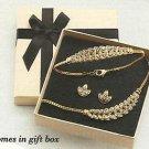 Necklace & Bracelet & Earring Gift Set Sparkling Leaves Necklace GOLDTONE ~NEW~