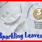Necklace & Bracelet & Earring Gift Set Sparkling Leaves Necklace SILVERTONE NEW
