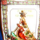 Christmas PIN #381 Vintage Red Bird in Tree & Holly Goldtone Pin
