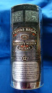 "Collectible Chivas Regal Blended Scotch Whisky Round Tin ""Whiskey"" Age 12 Years"""