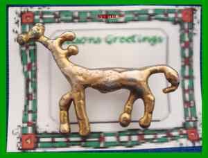 Christmas PIN #351 Unique Reindeer Goldtone Pin OOAK (Looks handmade) OOAK