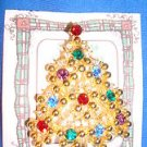 Christmas PIN #0449 Eisenberg Vintage Goldtone & Rhinestone Christmas Tree Pin