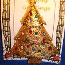 Christmas PIN #0409 Vintage Eisenberg Ice Christmas Tree Goldtone w/Rhinestones