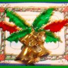 Christmas PIN #0009 VTG Signed St Labre Bells ~Red & Green Holly Leaves~Goldtone