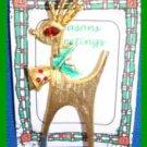 Christmas PIN #0359 MYLU Rhinestone Buck Reindeer Goldtone ~looking left~1960s