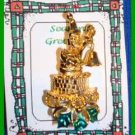 Christmas PIN #0036 Signed GOLD CROWN Bell & Santa Moveable Figural ~Gold Plated