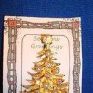 Christmas PIN #0390 MYLU Vintage Goldtone Christmas Tree Pearls &Aurora Borealis