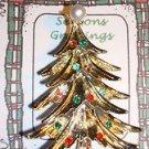 Christmas PIN #0452 Goldtone Christmas Tree w/Rhinestone & Sim Pearls Ornaments