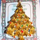 Christmas PIN #0451 Vtg Christmas Tree Goldtone w/Rhinestone & Enamel Ornaments