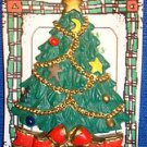 Christmas PIN #0442 American Greetings Corp Green Christmas Tree with Red Bow