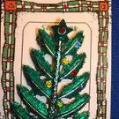 Christmas PIN #0436 Vtg Green Feathered Pine Tree Silvertone & Rhinestone Unique