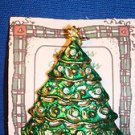 Christmas PIN #0432 Green Christmas Tree Goldtone Star & Tree Base ~Decorated~