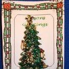 Christmas PIN #0431 Green Christmas Tree Rhinestone Star & 3 Candles Goldtone