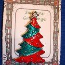 Christmas PIN #0430 Signed AAI Vtg Christmas Tree Red & Green Enamal& Silvertone