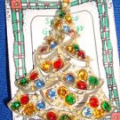 Christmas PIN #0417 Vintage Goldtone & Colored Faceted Rhinestone Ornaments Tree