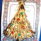 Christmas PIN #0404 Avante Vintage Christmas Tree Goldtone & Rhinestone Ornament