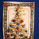 Christmas PIN #0401 Vintage Goldtone, Green Red-Clear Rhinestone Christmas Tree