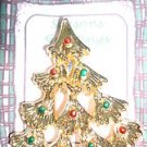Christmas PIN #0400 AAI Vintage Goldtone, Red & Green Ornaments Christmas Tree
