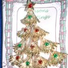 Christmas PIN #0399 Vintage Gerrys Goldtone, Red & Green Ornament Christmas Tree