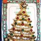 Christmas PIN #0398 Gerrys Vintage Goldtone, Red & Green Ornament Christmas Tree