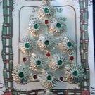 Christmas PIN #0397 Silvertone, Green & Red Enamel Ornaments Christmas Tree Pin