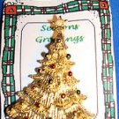 Christmas PIN #0395 Vtg Gerrys Goldtone/Enamel Christmas Tree Clear Rhineston