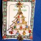 Christmas PIN #0393 Vintage Goldtone, Rhinestones & Snow Christmas Tree Pin