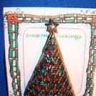 Christmas PIN #0384 Vintage Silvertone, Green & Red Rhinestone Christmas Tree