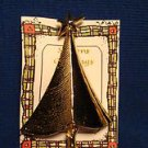 Christmas PIN #0382 Modernist Christmas Tree All Goldtone Colored Pin