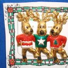 Christmas PIN #0378 Signed AJC Vintage 3 Reindeer Dancing Colors-Goldtone Pin