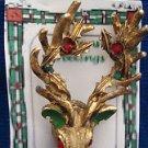 Christmas PIN #0370 Reindeer-Elk & Holly Goldtone w/Green & Red Rhinestones Pin