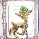 Christmas PIN #0364 VTG Gerrys Buck Reindeer Goldtone & Holly Scatter Pin
