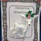 Christmas PIN #0361 VTG Gerrys Buck Reindeer White Irridescent Enamel &Holly Pin