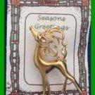 Christmas PIN #0357 Buck Reindeer Goldtone Pin ~ Head tossed up & looking left ~