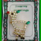 Christmas PIN #0349 Multicolor Rhinestone Deer Goldtone Pin Red Nose-Green Tail