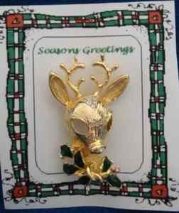 Christmas PIN #0341 Reindeer Goldtone wEnamel Green Holly & Crystal-8 point Buck