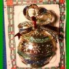 Christmas PIN #0337 Signed Gerrys Vintage Christmas Ball Ornament Green Goldtone