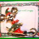 Christmas PIN #0326 Signed BJ Elf Mouse Head on Ski/Sled Goldtone-Green-Red Vtg