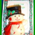 Christmas PIN #0320 Snowman Plastic, Red Scarf & Black Hat w/Holly Candycane VGC