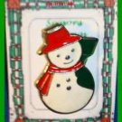Christmas PIN #0313 Enamel Snowman Goldtone, Red Scarf Red Hat, Black Broom VGC