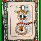 "Christmas PIN #0310 Vtg Snowman Prong Set Rhinestones Silvertone ""Sparkling"" XC"