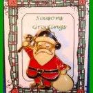 Christmas PIN #0288 Santa, White Sack & Cane Goldtone & Enamel HOLIDAY Brooch