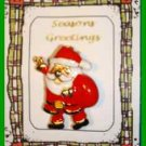 Christmas PIN #0287 Santa and Sack Goldtone & Enamel HOLIDAY Brooch