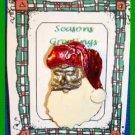 Christmas PIN #0277 VTG Santa Goldtone w/Enamel Red Hat & White Beard HOLIDAY