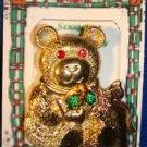 Christmas PIN #0266 VTG Gerrys Bear Goldtone w/Red Crystal/Rhinestone Eyes VGC